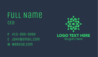 Green Geometric Abstract Target Business Card