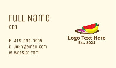 Healthy Fruit Plate Business Card