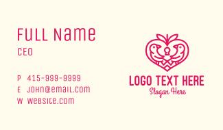 Red Valentine Lovebird Business Card