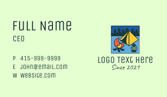 Square Camping Scene Business Card