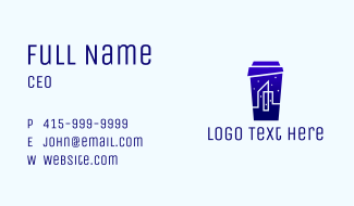 City Builing Night Cup Business Card