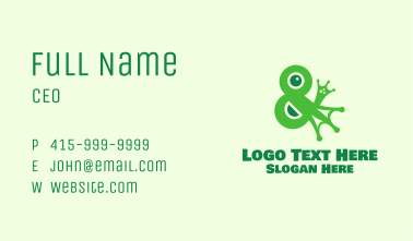 Green Ampersand Frog  Business Card