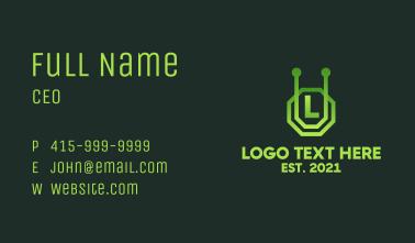 Futuristic Alien Letter Business Card