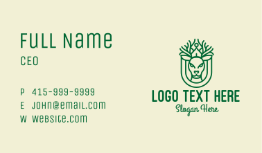 Green Deer Antler Monoline  Business Card