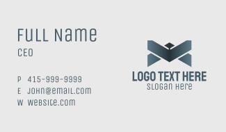 Letter V Gradient Tech Business Card
