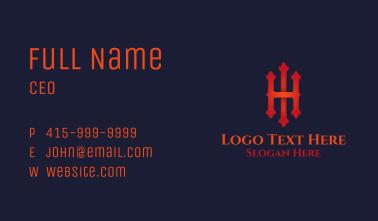 Fancy Motif Letter H & I Business Card