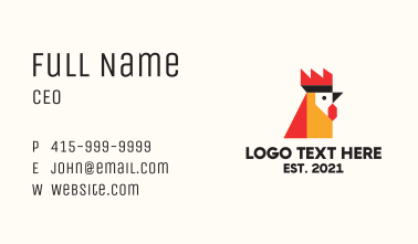 Geometric Rooster Head Business Card