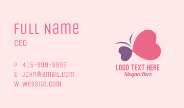Simple Romantic Heart Butterfly  Business Card