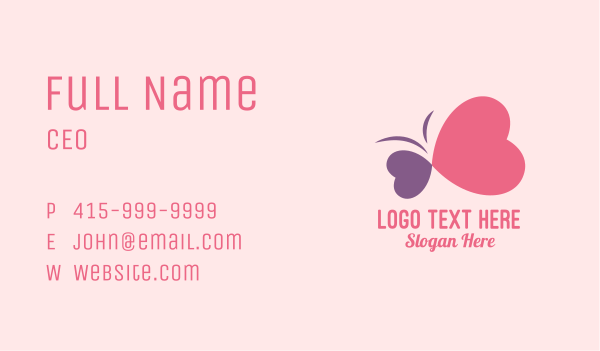 love heart - Simple Romantic Heart Butterfly  Business card horizontal design