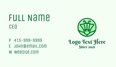Green Flower Circle Business Card