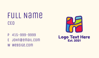 Colorful Letter H Business Card