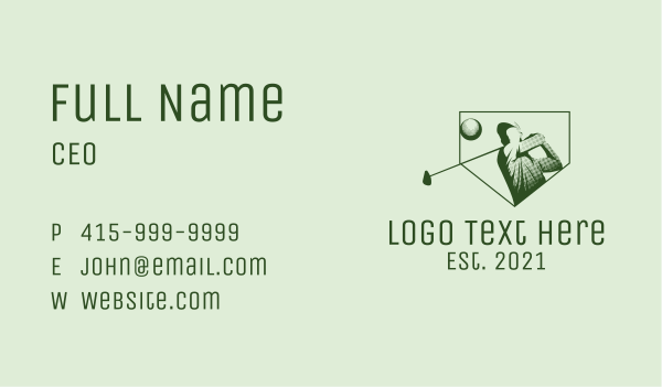 golf contest - Minimalist Golf Player Business card horizontal design