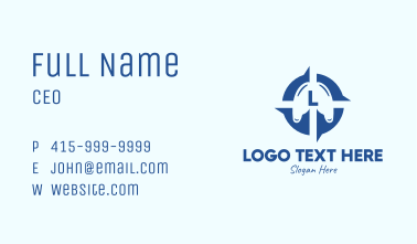 Blue Lung Compass Lettermark Business Card