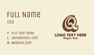 Fancy Brown Script Letter Q Business Card