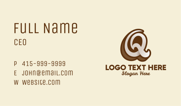 coffeehouse - Fancy Brown Script Letter Q Business card horizontal design