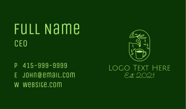 Herbal Tea Hand  Business Card