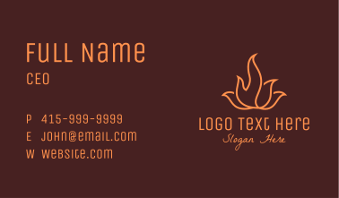 Orange Flame Monoline Business Card