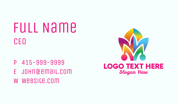 clown - Colorful Jester Hat Business card horizontal design