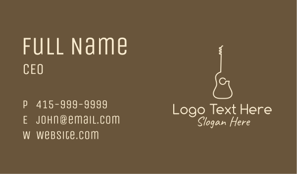 tuner - Minimalist Acoustic Guitar Business card horizontal design