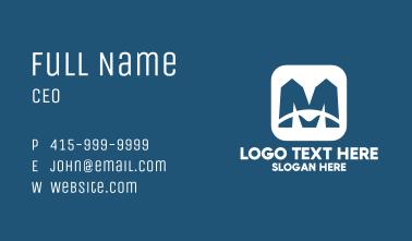 Blue Letter M App Business Card