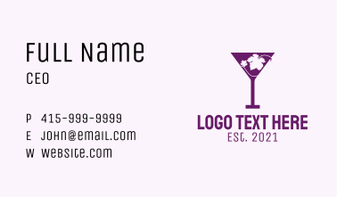 Violet Martini Glass  Business Card