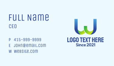 Professional Letter W Business Card
