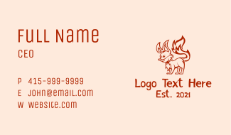 Fox Game Mascot Business Card
