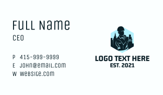 Civil Engineer Silhouette  Business Card