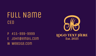 Elegant Letter MR Beauty Business Card