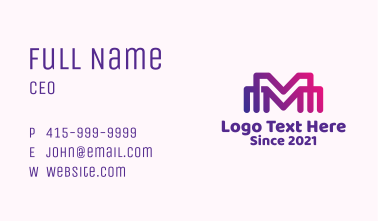 Linear Letter M Multimedia Business Card