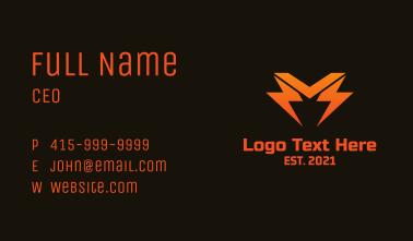 Orange Lightning Letter M Business Card
