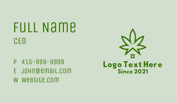 dispensary - Marijuana Plant House  Business card horizontal design