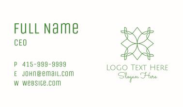 Green Monoline Floral Motif Business Card