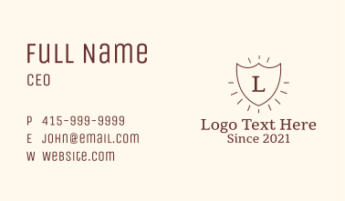 Vintage Rays Emblem Letter Business Card