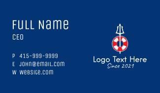 Nautical Trident Lifeguard  Business Card