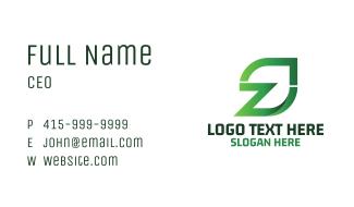 Organic Leaf Letter Z Business Card