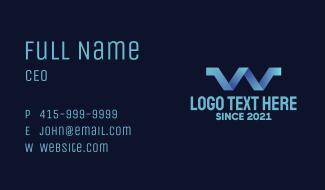 Blue Gradient Letter W Business Card