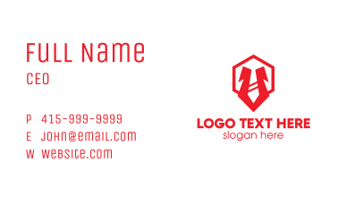 Red Hexagon Tie Business Card