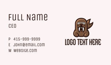 Angry Sea Lion Mascot  Business Card