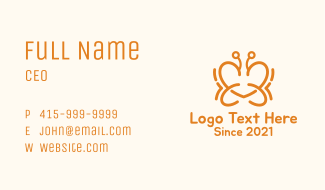 Orange Butterfly Heart Business Card