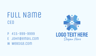 Blue Abstract Star Business Card