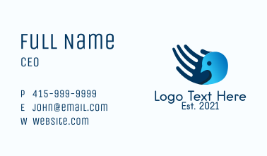 Blue Hand Bird  Business Card