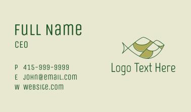 Green Minimalist Fish Hills Business Card