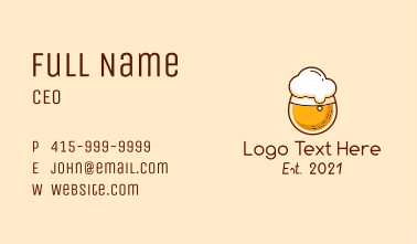 Round Beer Glass Business Card