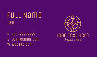 Gold Monoline Elegant Circle Business Card