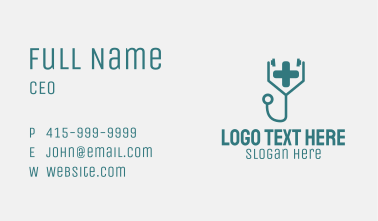 Red Clinic Stethoscope Business Card