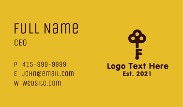 Realty Key Letter F Business Card