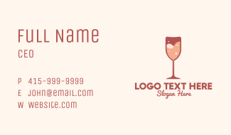Sparkling Heart Wine Business Card