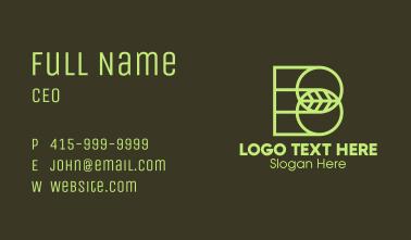 Green Leaf Letter B Business Card