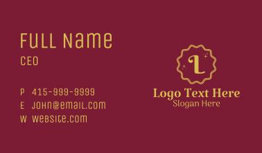 Gold Sparkle Letter Business Card